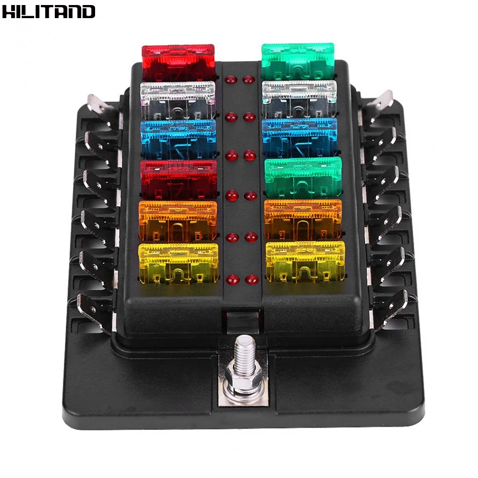 Cheapest 12 Way Circuit Blade Fuse Box Standard ATO ATC Block Holder Kit With PC Terminal For Car Boat