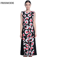 FRISMOD Black Capri Wide Leg Pants Overall Rompers 2017 Summer New Fashion Print O neck Sleeveless Loose Women Chiffon Jumpsuits
