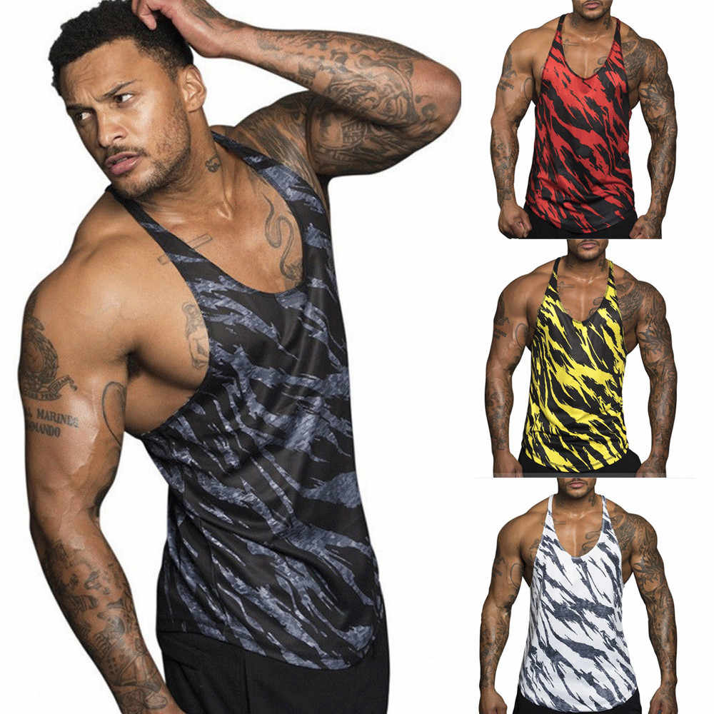 Men's Sleeveless Tank Tops Summer Gyms Bodybuilding Undershirt Fitness Vest Tops