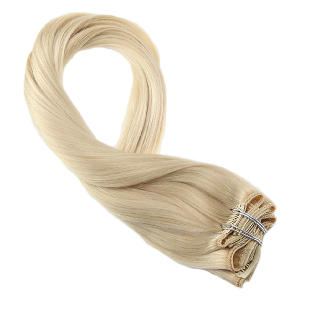 Moresoo Hair-Extensions Blonde Clip-In Bleach 100%Human-Hair -613 Double-Weft Real-Remy