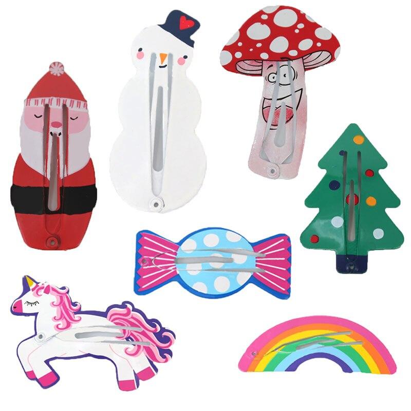 Hair Clips Christmas For Children Girls Hairpins Hair Cute Baby Snap Clip Pins Tree Snowman Santa Claus Color Barrettes 5cm 2pcs