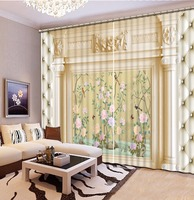 Customize 3d Curtains Flowers And Birds Landscape Window Curtains For Living Room Luxurious Modern Blackout Curtains
