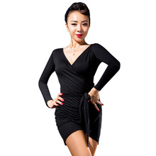 Vogue Tango Ballroom modern costume performance wear adult Long-sleeve V-neck sexy Latin dance top for women/female dancer M1021