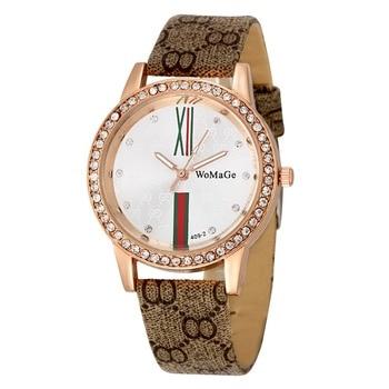 Brand Luxury Women Watches Crystal Watch Leather Wristwatch Casual Dress Quartz Wristwatches For Ladies Girls Ceasuri