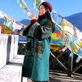 MX148 Новое Прибытие Зима 2016 женщин лоскутное пальто старинные х длинные свободные рог кнопку этническая шерсть пальто