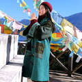 MX148 New Arrival Winter 2016 women patchwork overcoat vintage x long loose horn button ethnic wool coat