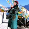 MX148 Nueva Llegada Del Invierno 2016 mujeres abrigo patchwork vintage x largo abrigo de lana botón de cuerno flojo étnico