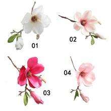 Kwiat sztuczne kwiaty sztuczne sztuczne kwiaty liść Magnolia kwiatowy bukiet ślubny dekoracje na domowe przyjęcie 4 2 tanie tanio Brand New fake flowers paper flowers whit hot pink red pink Living Kwiat Oddział artificial flowers Length 37cm Z tworzywa sztucznego
