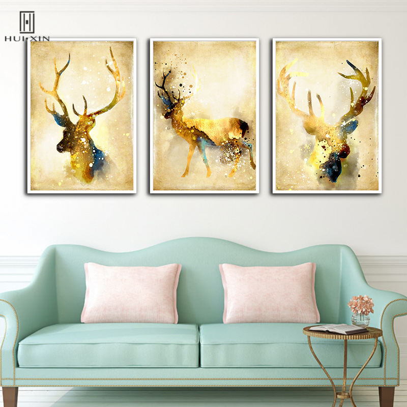 Abstract Wall Print Canvas Art Unframed Paintings American Golden ...