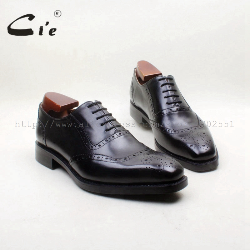 cie Square Toe Full Brogues Genuine Calf Leather Outsole Breathable Bespoke Handmade Work Men's Shoe Dress Oxford Black OX711 cie square plain toe black wine handmade pure genuine calf leather outsole breathable men s dress oxford bespoke men shoe ox407