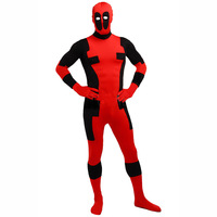 FREE SHIPPING 1pcs moda HALLOWEEN Cosplay marvel red spandex full body Deadpool Costume adult for party shows