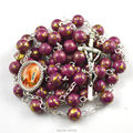 Our Lady of Lourdes religious rosary necklace in France with round mottled bead