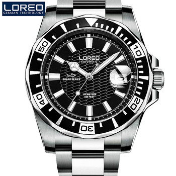 LOREO Brand Luxury Automatic Mechanical Watch Classic Sapphire Dial Full Steel Watch Men Waterproof 200M Male Fashion Clock