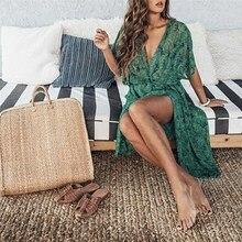 Summer Womens Kimono Printing Green Blouses Cardigan Casual Chiffon Blusas