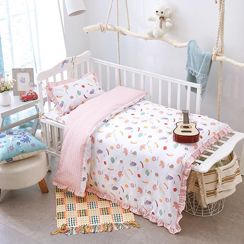 3Pcs Cotton Bed Kit For Boy Girl Cartoon Fruit Pattern <font><b>Baby</b></font> <font><b>Bedding</b></font> <font><b>Set</b></font> Includes Pillowcase Bed Sheet Duvet Cover Without Filler image