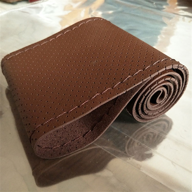 New Design Diameter 36cm Fiber Leather Hand Sewing Car Steering Cover With Neeedle Thread Automobile Accessories Brown Color