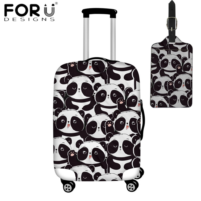 Forudesigns Fashion Travel Accessoires Baby Panda Patroon Zwarte Bagage Cover & Bagagelabel Voor 18-30 Inch Case Stofdicht Cover