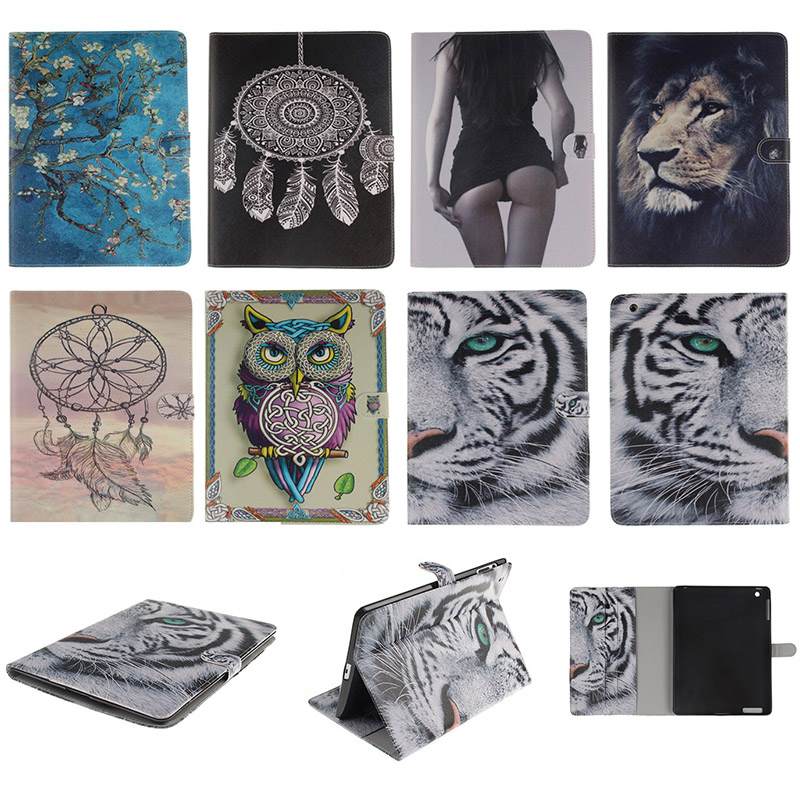 Fashion Animal Cartoon Tiger Lion Pattern PU Leather With Card Slot Protector Back Cover For iPad 2 3 4 iPad2 iPad3 iPad4 9.7