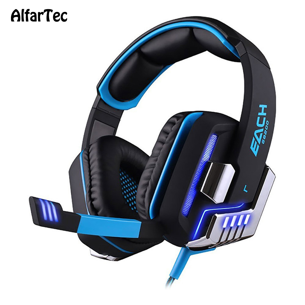 G8200 Video USB Headphone With Mic Professional Gaming LED Light Headset Bass Stereo Headband Noise Canceling For PC Game Movie led bass hd gaming headset mic stereo computer gamer over ear headband headphone noise cancelling with microphone for pc game