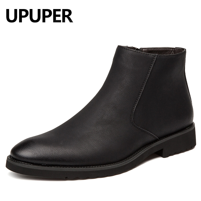 Pointed Toe Genuine Leather Men Boots Convenient Zip Business Dress Boots Shoes Men Black Brown British