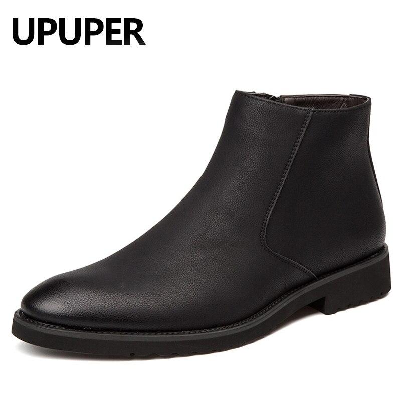 Pointed Toe Genuine Leather Men Boots Convenient Zip Business Dress Boots Shoes Men Black Brown British Fashion Ankle Boots часы настенные t weid с фоторамками цвет белый 35 х 60 х 5 см