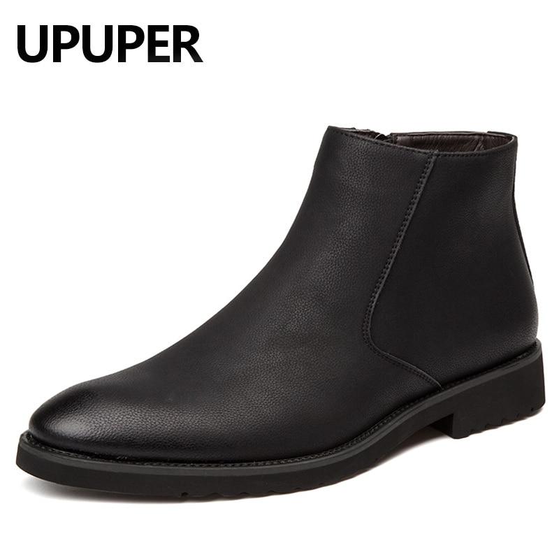 Pointed Toe Genuine Leather Men Boots Convenient Zip Business Dress Boots Shoes Men Black Brown British Fashion Ankle Boots