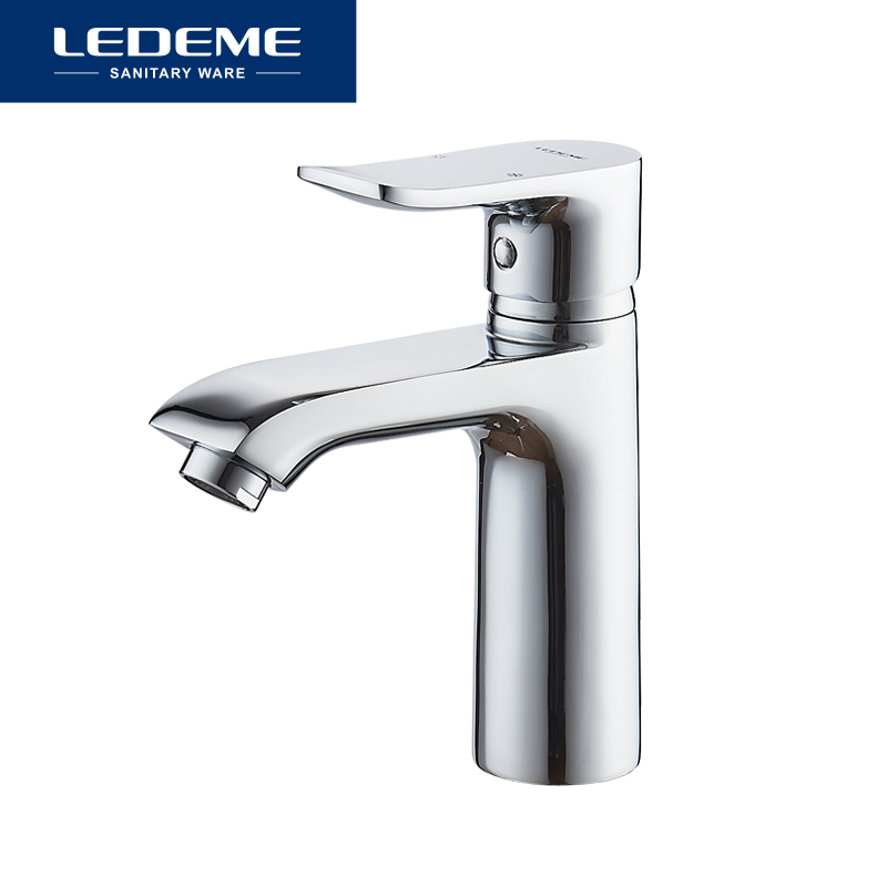 LEDEME Bathroom Faucet Basin Faucets Hot and Cold Water Deck Single Handle Installation Sink Mixer Chrome Finish L1034
