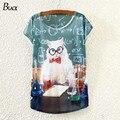2015 New Women Cotton Cartoon Cat Shirt Loose Short Sleeve T Shirt O-neck Cute Japanese Mori Girl Style Free Shipping