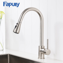 лучшая цена Fapully Pull Out Kitchen Tap Single Handle Water Tap Brass Nickel Brushed Cold Hot Water Mixer Rotatable Kitchen Sink Faucet