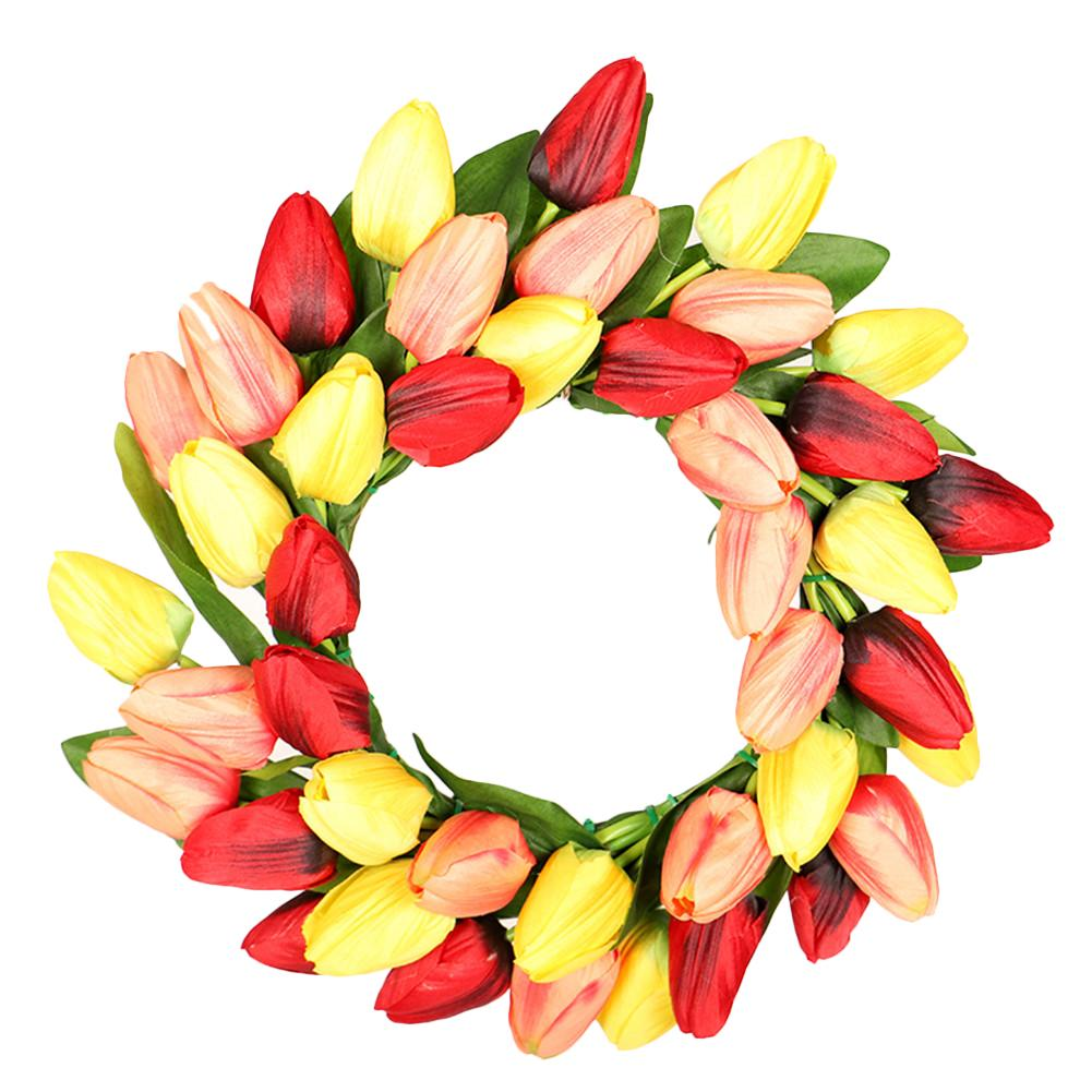 Pink Tulip Wreath Front Door Decoration Wreath For Mexican Carnivals Christmas Party For Home Decor Wholesale