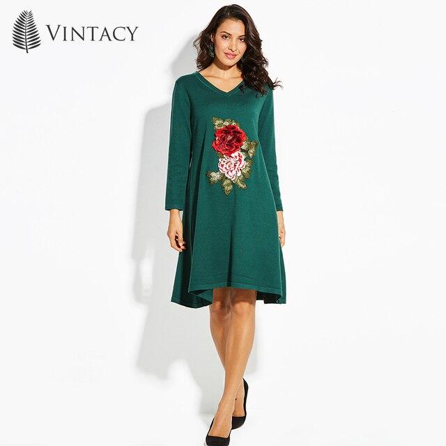 Vestido de suéter de las mujeres de la vendimia v-cuello a-line floral pullover manga larga Bordado verde moderno vestido de suéter mujeres de la manera