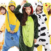 2017 Unisex Flannel Pajamas Sets Unicorn Stitch Panda Cartoon Sleepwear Cosplay Animal Onesies Women Adult Child