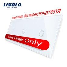 Livolo Luxury White Pearl Crystal Glass,223mm*80mm, EU standard, Triple Glass Panel,VL-C7-C1/C1/C1-11
