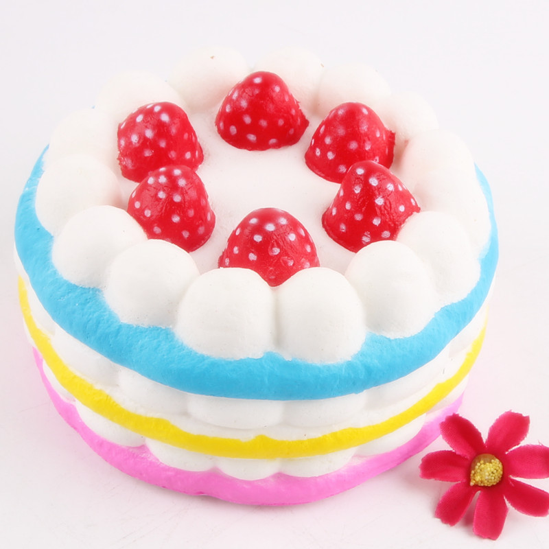 Funny Creative Squishy Simulation Strawberry Cake Slow Rising Relieves Stress Toys Gift For Children #B