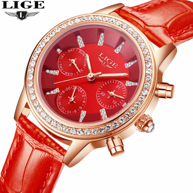 Relogio feminino zegarki damskie LIGE Luxury Brand dziewczęcy zegarek kwarcowy Casual skórzana sukienka damska zegarki damskie zegar Montre Femme