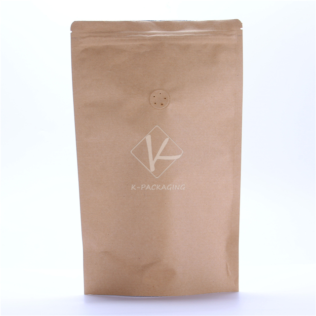 5 Pcs 16x24cm 250g Resealable Kraft Paper Bags One Way Valve Coffee