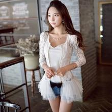 Original New 2016 Brand Female Coats Spring and Autumn Zipper Fashion Ruffled Lace Thin Jackets Women White Plus Size Wholesale