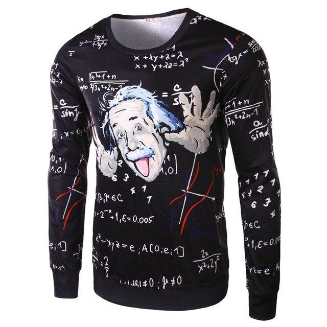 Новое Прибытие мужская Slim Fit Забавный Эйнштейн Шаблон футболка С Длинным Рукавом Осень футболки Для Парня Высокое Качество camisa masculina