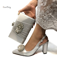 2019 African Special Design Ladies Shoes and Bag Set Silver Color Italian Shoes with Matching Bags Comfortable Heels Women Shoes