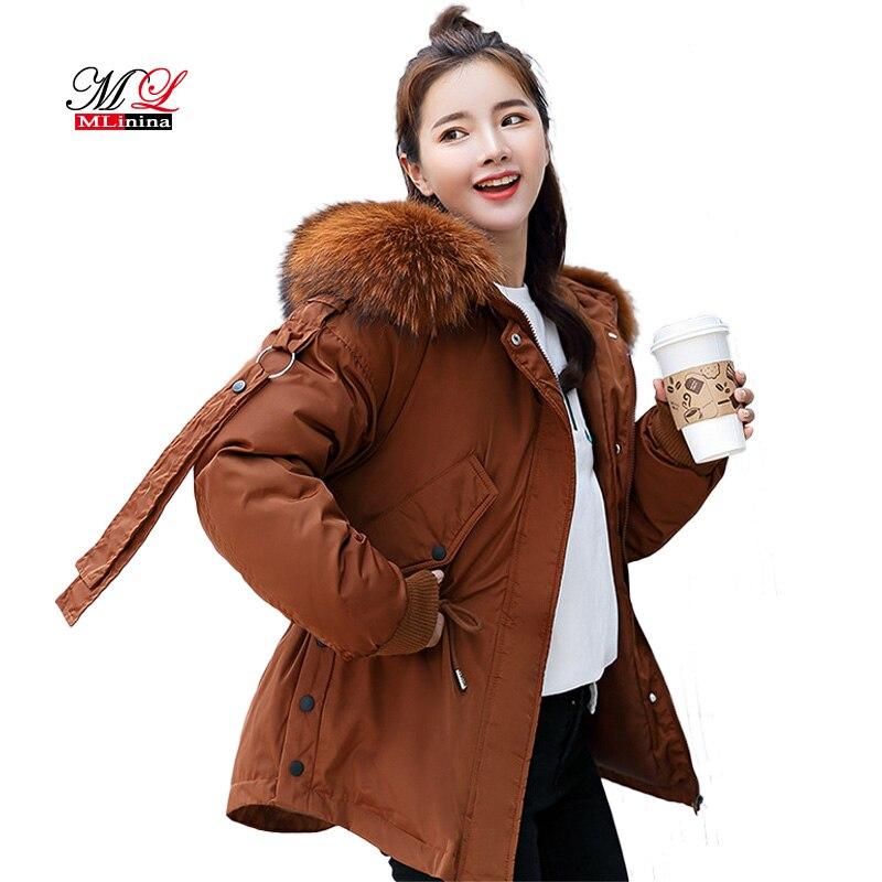 Mlinina Women Short Casual Cotton Coat Winter 2018 Down   Parka   Warm Female Snow Coat Girls Park Outwear Hooded Loose Jacket