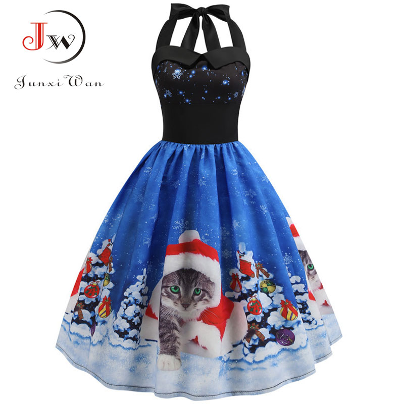 Women Vintage Christmas Dress Elegant Halter Sexy Party Dresses Casual Swing Robe High Waist Cat Print Midi Dress Plus Size