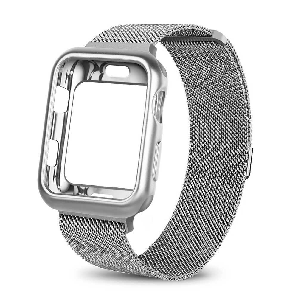 Case+watch strap for Apple Watch 3 iwatch band 42mm 38mm Milanese Loop bracelet Stainless Steel watchband for Apple Watch 4 3 21