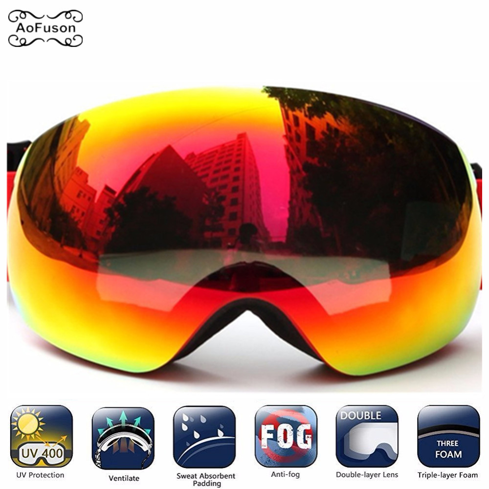 7ae764d031 Big Vision Ski Goggles Sowboard Double Layers Anti fog Lens Photochromic  UV400 Skiing Mask Glasses Snowmobile Motocross Eyewear-in Skiing Eyewear  from ...