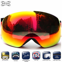 Big Vision Ski Goggles Sowboard Double Layers Anti fog Lens Photochromic UV400 Skiing Mask Glasses Snowmobile Motocross Eyewear