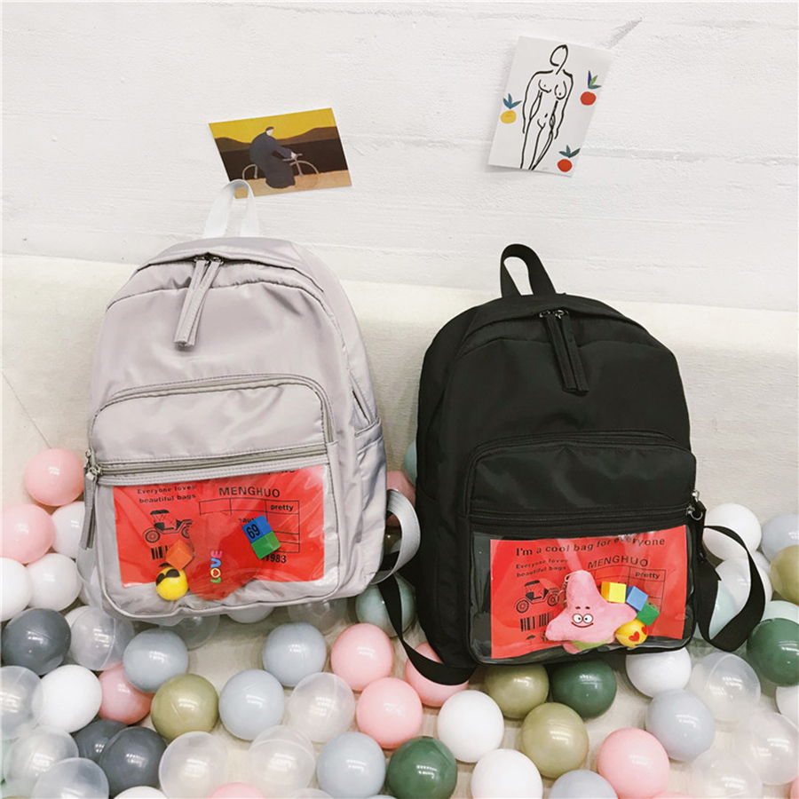 Clear Large Capcity Women School Bags Cute Harajuku Student Backpacks Casual Bookbags Women Transparent Travel Back Packs 2019 in Backpacks from Luggage Bags