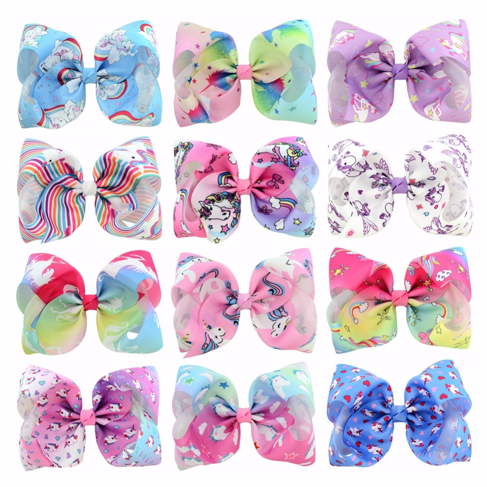 12pcs/lot 8 Inch Large Gradient Rainbow Unicorn Print Grosgrain Ribbon Hair Bows With Clip Kids Handmade Hair Accessory 833