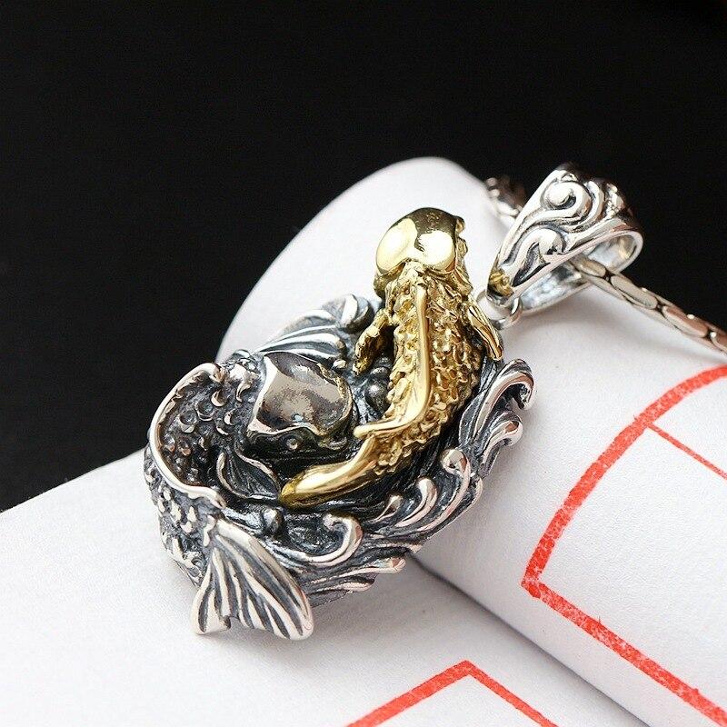 Ecoworld Ge bijoux en gros 925 En Argent Sterling Pendentif Argent Plaqué Vintage Main annuel poissons pendentif Pendentif