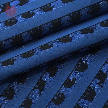 Tissu Rayé Bleu | Style Américain Luxe Bleu Royal Avec Tissu Noir Imprimé éléphant Pour Printemps Automne Robe Manteau Rayé Tela Tejido SP3595