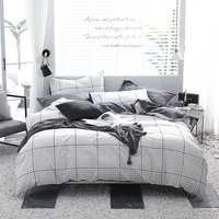 White Minimalist Plaid Pattern Home Textile 3/4Pcs Cotton Bedding Sets Duvet Cover Bed Sheet Pillow Cover Cotton Autumn Winter