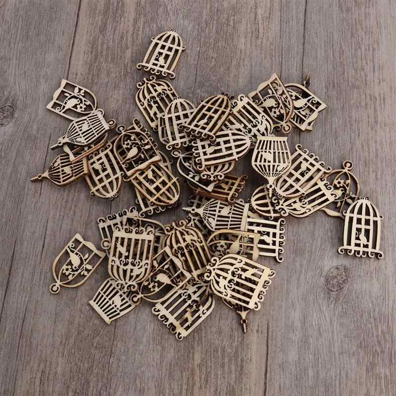 NBEADS 24 Pcs Unpainted Fairy Theme Mini Door Shape Wooden Pieces 4 Patterns Wood Fairy Garden Door Miniature DIY Craft Embellishments for Home Office Birthday Wedding Party Decoration Antique White